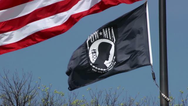 POW MIA flag waving in wind, Washington DC video