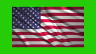 US flag waving,loopable on green screen video