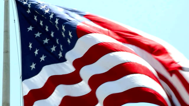 USA flag wawing in the wind in HD 1080pv video