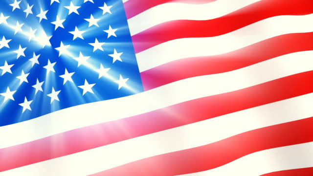 US flag with shining stars video