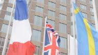 Flags fluttering - France, United Kingdom, Sweden video