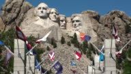 Flags Flying below Mount Rushmore video