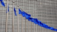 EU flags in Brussels near Berlaymont building video