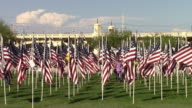 US flags in honor of 911 video