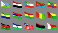 Flags of Africa (Part 2 of 4). Seamless Loop. Matte Channel video