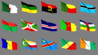 Flags of Africa (Part 1 of 4). Seamless Loop. Matte Channel video