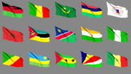 Flags of Africa (Part 3 of 4). Seamless Loop. Matte Channel video