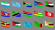 Flags of Africa (Part 4 of 4). Seamless Loop. Matte Channel video