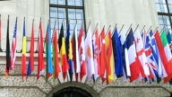 Flags of different countries of the international community, summit in Vienna video