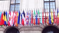 Flags of different countries of the international community, summit in Vienna. video