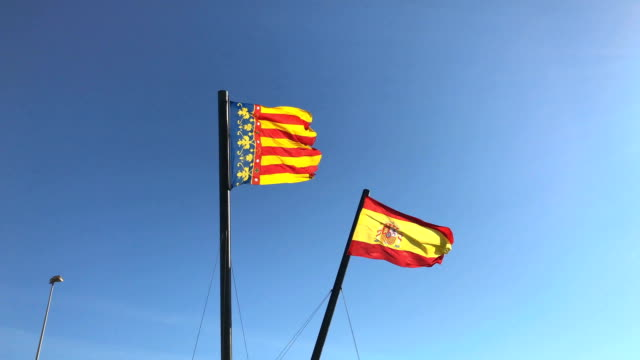 Flags of Spain and the autonomous community of Valencia video