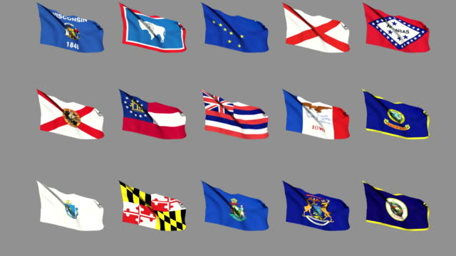 Flags of the 50 US states - Part 1 of 4 video