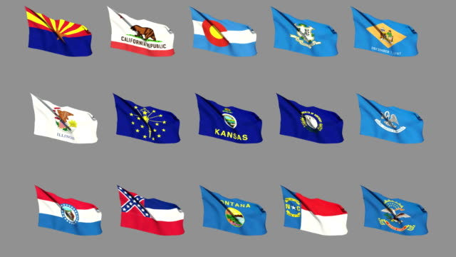 Flags of the 50 US states - Part 2 of 4 video