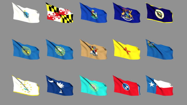 Flags of the 50 US states - Part 3 of 4 video