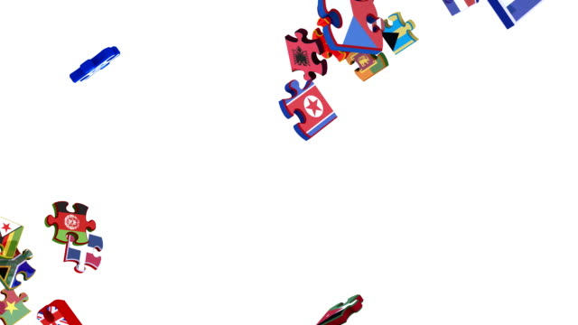 Flags of the United Nations in Moving Puzzle Pieces (Loop) video
