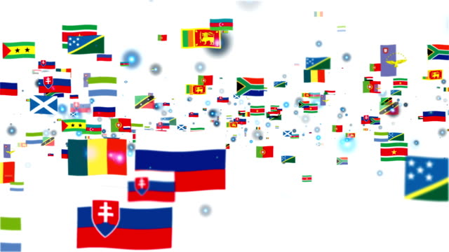 Flags of the World flying, white video