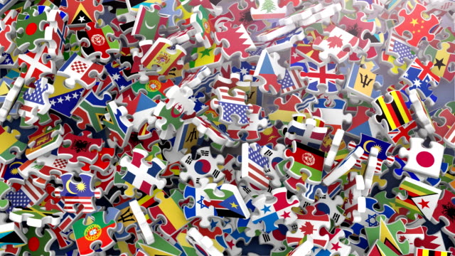 Flags of the World in Falling Puzzle Pieces (2 versions) video