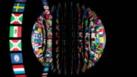 Flags of the World sphere, black video