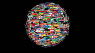Flags of the World Sphere Rotating, Loop video