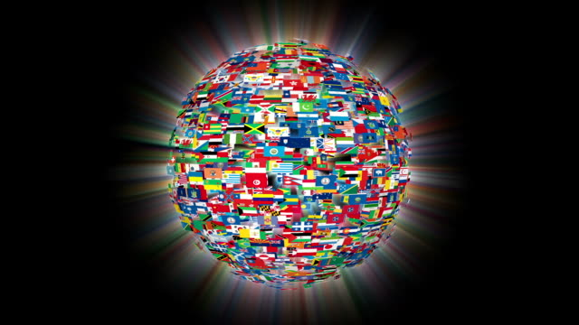 Flags of the World Sphere Rotating, Loop video