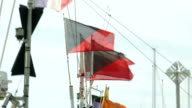 Flags on fishermen's boats in the port of the Lavandou, Var, South of France video