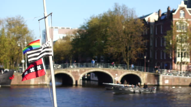Flags waving in the wind with Amsterdam in the background video