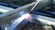 Flame of electric welding video