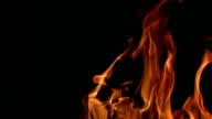 Flames burning on black background, Slow Motion video