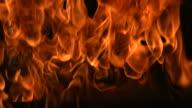 Flames closeup, slow motion video