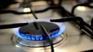 Flames on gas stove burner video