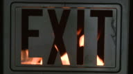 Flaming Fire Exit Sign video