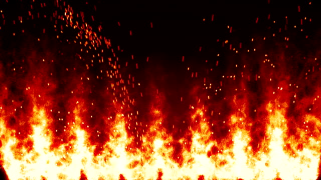 flaming fire wall and sparks loopable background video