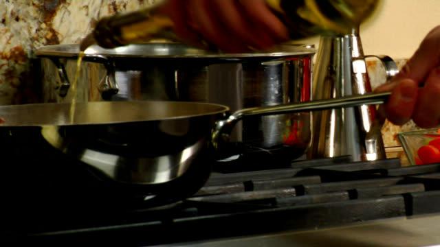 HD Flaming Vegetables in skillet 4 video