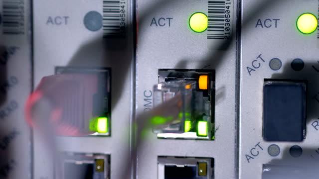 Flashing LED lights of working data server. 4K. video