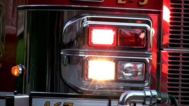 Flashing Lights On A Firetruck At Dusk video