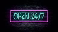 Flashing Open 24/7 neon sign video