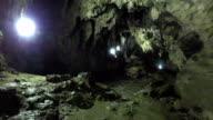 Flashlight and Human Shadow in Polovragi Cave,Romania video