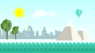 Flat cartoon panoramic city with ocean in front video