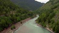 Flathead River  - Aerial View - Montana, Flathead County, United States video
