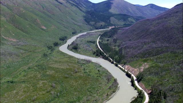 Flathead River through Cammas Creek  - Aerial View - Montana, Flathead County, United States video