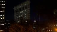 Flatiron Building esttablishing shot night video