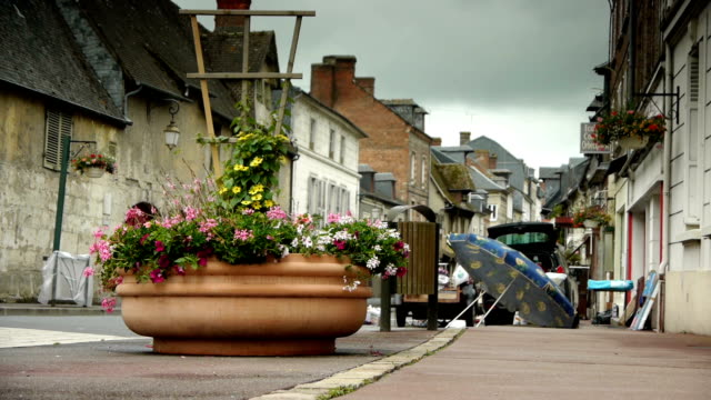 Flea market in a little village in Normandy, France video