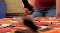 flies crawling on retro 1970's style tablecloth getting swatted by electric fly swatter video