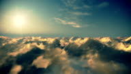 Flight above timelapse clouds at sunset video