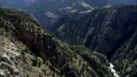 Flight Down Towards Clarks Fork Yellowstone River  - Aerial View - Wyoming, Park County, United States video