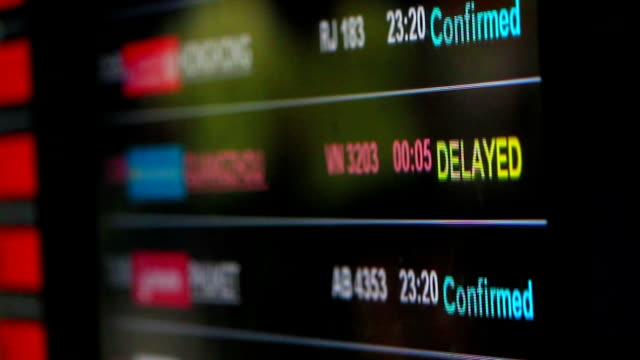 Flight information board with delayed flights video