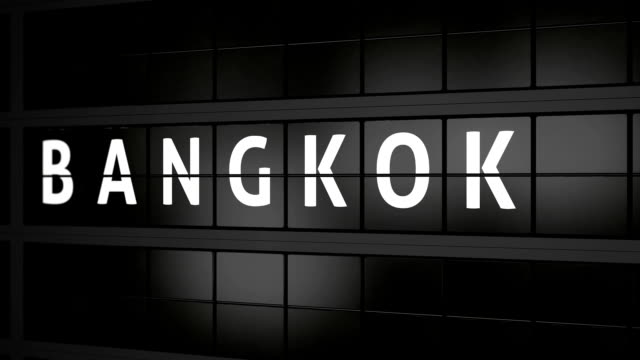 flight information board with the city name Bangkok video