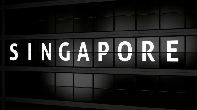 flight information board with the city name singapore video