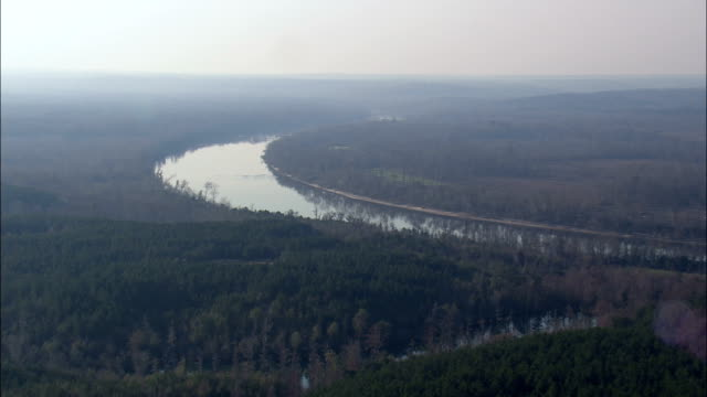 Flight Low Over Alabama River  - Aerial View - Alabama,  Monroe County,  United States video