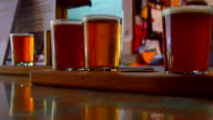 Flight of 5oz Craft Brewery Beer, Close Up Hand, Multiple Selections video